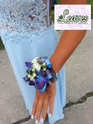 Tropical Orchid Wrist Corsage - White and Blue